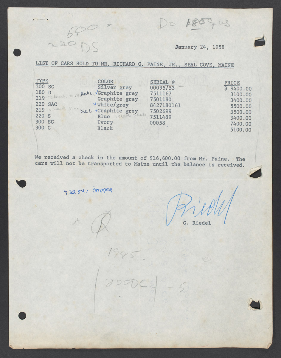 Cars Sold to Mr. Richard C. Paine Jr., Seal Cove, Maine List, January 24, 1958