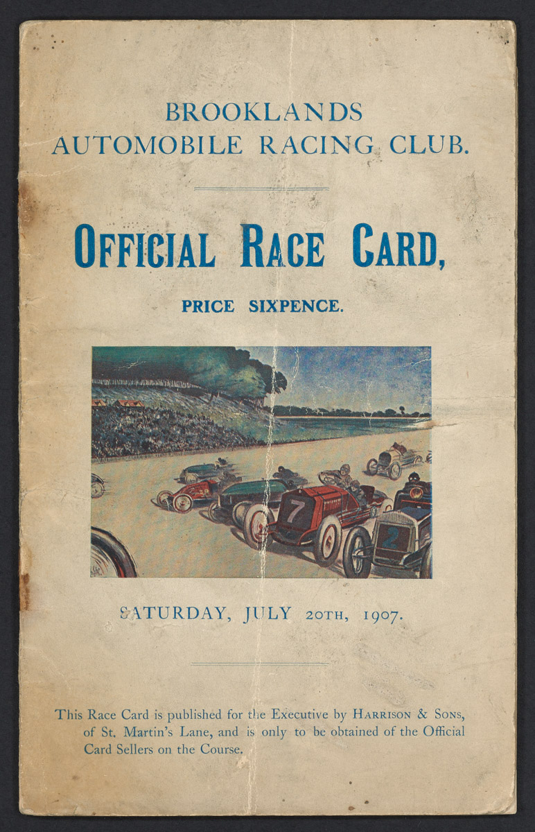 Brooklands Automobile Racing Club, Official Race Card Pamphlet, July 20, 1907