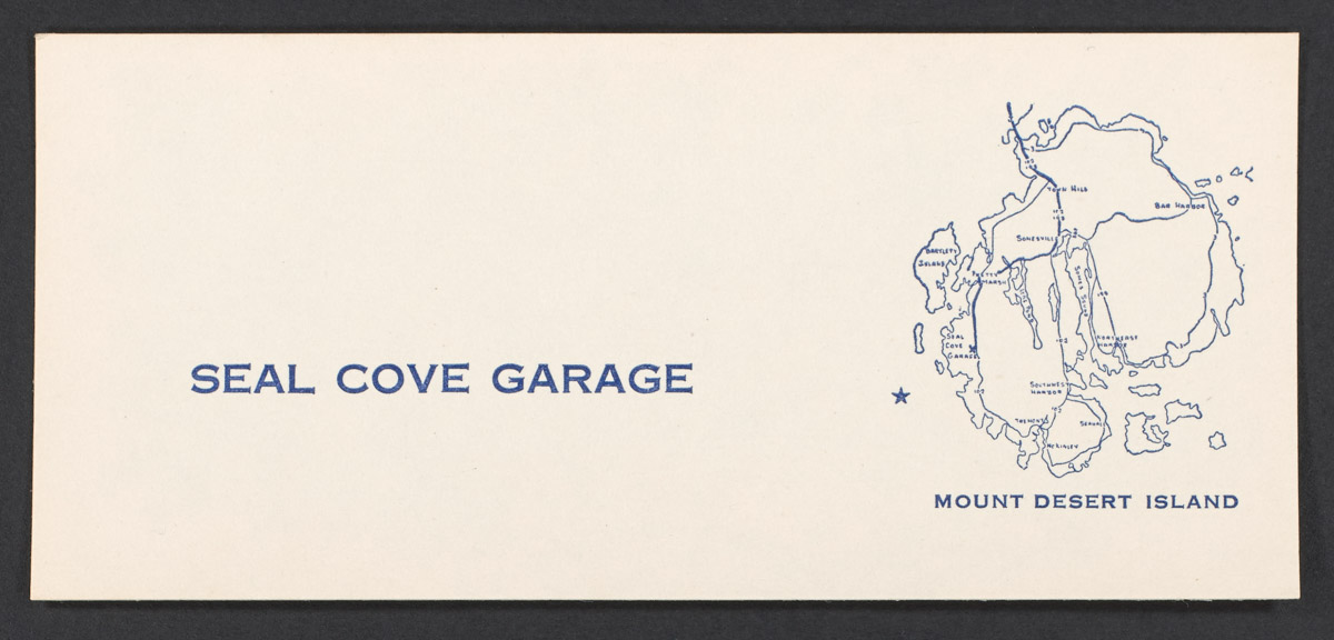 Seal Cove Garage Business Card, undated