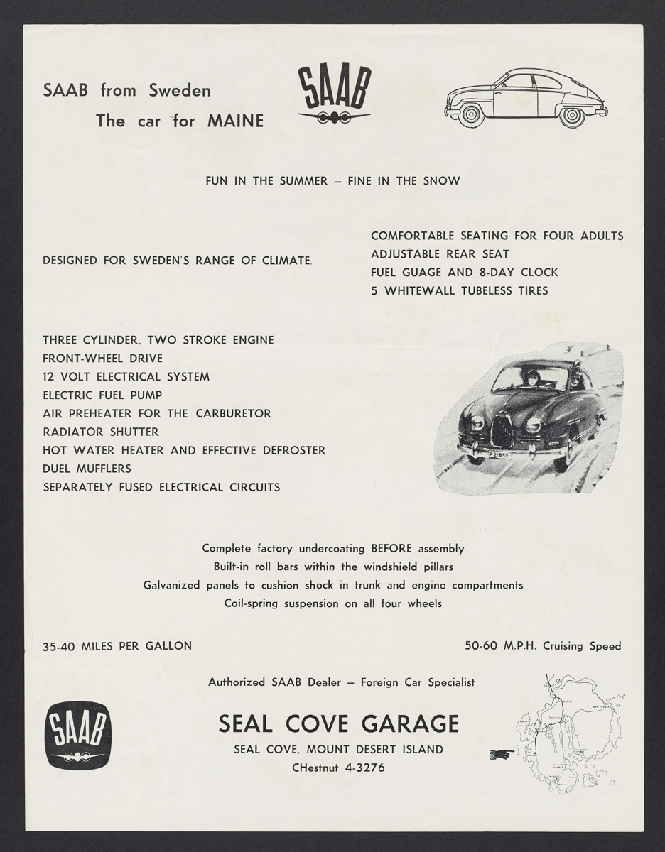 Saab from Sweden - The Car for Maine Information Sheet, c. 1955